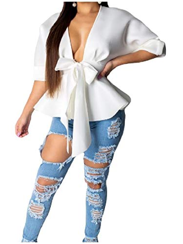 LinkShow Womens Sexy Ruffled Deep V-Neck Bowknot Half Sleeve Blouse Tunic Tops White L