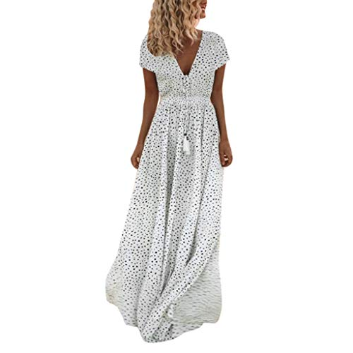 【MOHOLL】 Women's Summer V Neck Dot Print Maxi Long Dress Short Sleeve Tassels Long Dress Beach Maxi Dress White