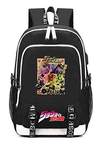 Gumstyle JoJo's Bizarre Adventure Anime Schoolbag Travel Bag Laptop Backpack with USB Charging Port and Headphone Jack 1]()