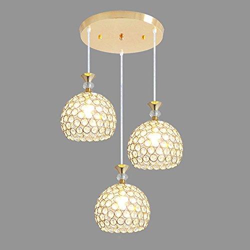 5.5'' Semi Flush Mount Light Fixture with 3 Crystal Globe Pendant Ceiling Light Fixture Pendant Chandelier Bar Restaurant (Gold Plated)