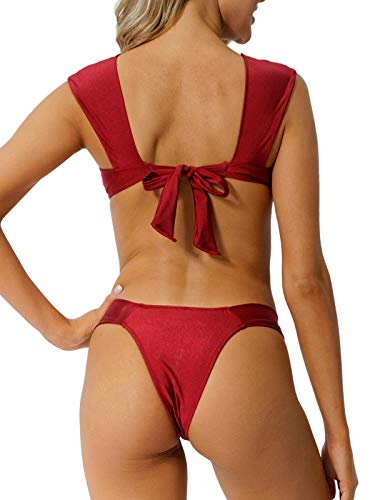 Peddney Push Up Bikini Swimwuit for Women High Cut Triangle Bikini Two Piece Bathing Suit Red Wine