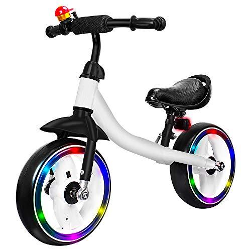 Verkstar Kids Balance Bike No Pedal Walking Sport Bicycle, Adjustable Training Toddler Bike for 2 to 6 Year Old Boys & Girls (White)