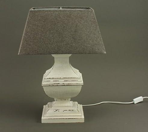 Tischlampe Mit Holzfuss Weiß Tischleuchte, Lampe, Höhe: Ca. 58 Cm