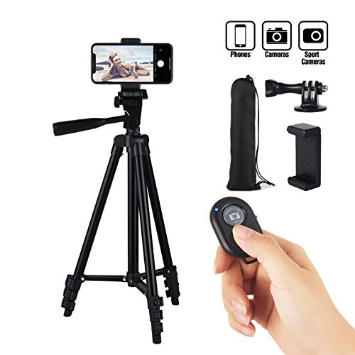 Hitch Phone Tripod, Gopro Tripod 51 Inch 130cm Aluminum Lightweight Smartphone Tripod for iPhone/Samsung/Huawei Cellphone, Camera and Gopro with Bluetooth Remote Control, Carrying Bag and Gopro Mount - Control Phone
