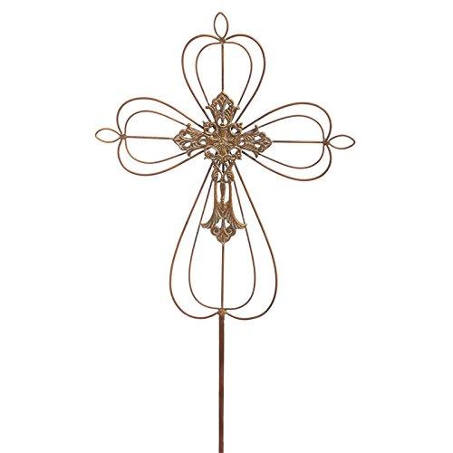 Intricate Metal - Evergreen Intricate Bronze Cross Metal Garden Stake
