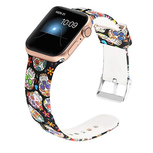 Gaishi Compatible for Apple Watch Band 42mm 44mm, Women Men Soft Silicone iWatch Sport Wristband for 42 Apple Watch Series 4 Series 3 Series 2 Series 1, Pattern Printed Skull