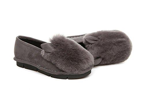Appartamenti confortevoli mocassini donne in pelle coniglio pelliccia Bean scarpe , gray , 76*60cm GRAY-90160CM