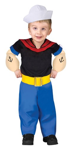 Fun World Boys Popeye Toddler Costume, Multicolor,