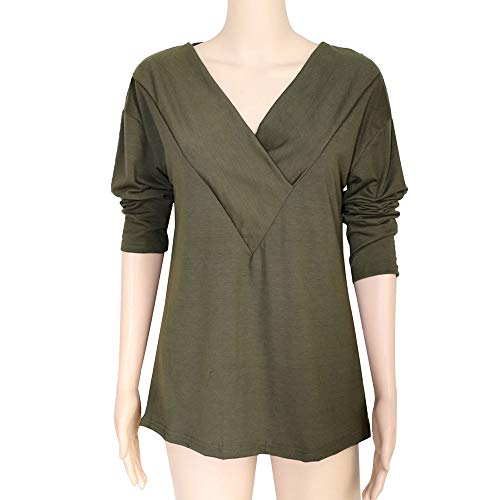Tops Neck Plain Shirt Femme Green Roll FashionSolid Chemise Tonsee Blouse Dames Office Manches T Armyz V znYOOR