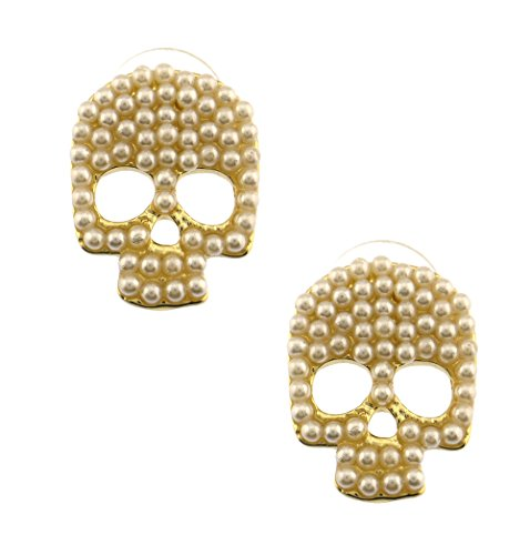 Cutest gold plated skull resin cream pearl encrusted stud post button earrings