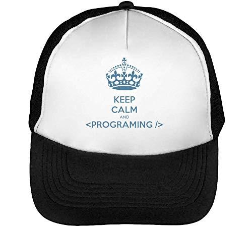 Beisbol Blanco Gorras Keep Snapback Calm Hombre Programing Negro XE8qq0w4n