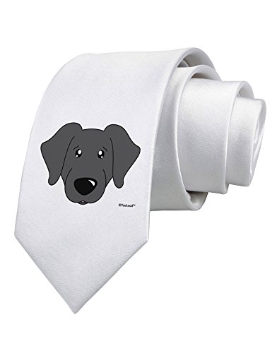 TooLoud Cute Black Labrador Retriever Dog Printed White Neck Tie (Tie Black Labrador)