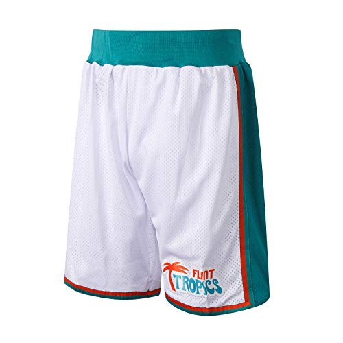 AFLGO Flint Tropics Short Basketball - 90's Clothing Shorts Throwback Costume Athletic Apparel Clothing (White, XL)]()