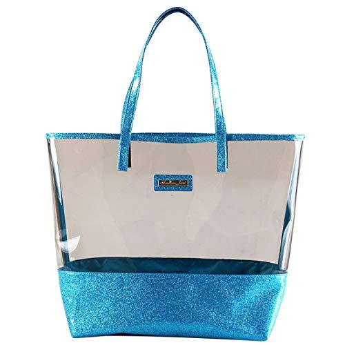 Glitter Tote Bag- Beach Bag Purse - Clear Vinyl Shoulder Bag with Glitter Accents - Aqua