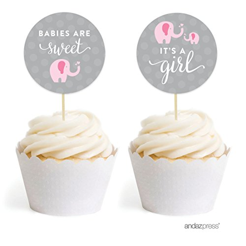 Andaz Press Pink Girl Elephant Baby Shower Collection, Cupcake Topper DIY Party Favors Kit, Babies are Sweet! It's a Pink Girl!, (Cupcakes For Baby Shower)