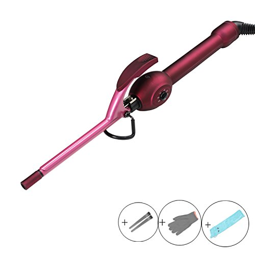 Kissbeauty Purple 9mm Mini Hair Curler for Man's Curl and Child with Ceramic Coating Barrel Hair Curling Iron (9mm123mm)