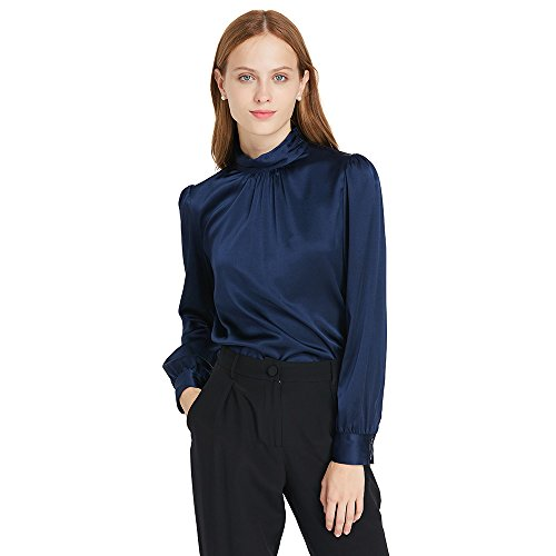 LilySilk Silk Blouses for Women Long Sleeve 100 Mulberry Charmeuse 19MM Retro Style Ladies Royal Top Navy Blue ()