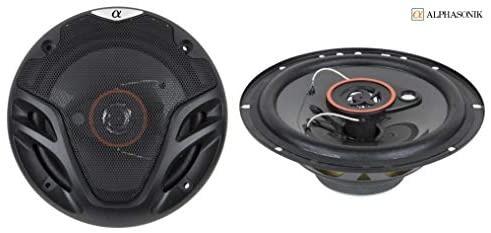 4 New 2 Pairs Alphasonik AS26 6.5 inch 350 Watts Max 3-Way Car Audio Full Range Coaxial Speakers with Universal Mounting Holes for Easy Installation and Grills Included