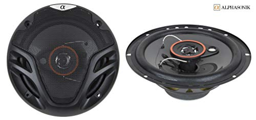 (Pair Alphasonik AS26 6.5 inch 350 Watts Max 3-Way Car Audio Full Range Coaxial Speakers with Universal Mounting Holes for Easy Installation and Grills Included )