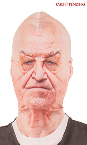 Faux Real Old Man Mask - Grandpa Grandfather Face Mask One Size Fits Most -