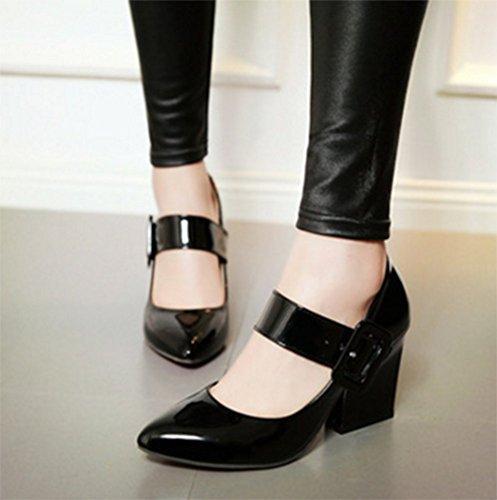 Chfso Femmes Boucle De Mode Bout Pointu Semelle Souple Haute Chunky Talon Pompes Chaussures Noir