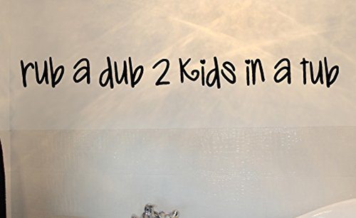 Rub A Dub 2 Kids In A Tub Wall Decals Stickers, Black, 24