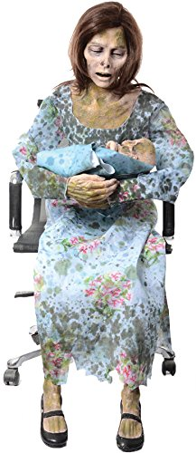 life size halloween rocking chair zombie mom animated prop]()
