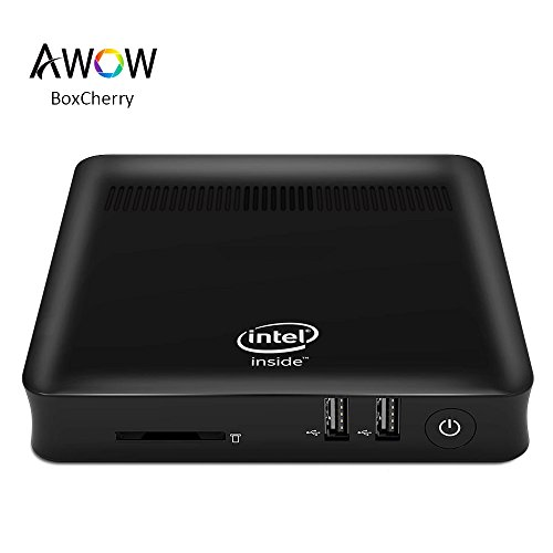 AWOW Fanless Design Mini PC Windows 10 – ( Cherry Trail-T3 Quad Core 2.2 Ghz/4GB DDR/64GB eMMC/Gigabit Ethernet/2.4G+5G Dual Wi-Fi/VGA/HDMI/USB 3.0/4K/ Mini Computer PC BoxCherry)