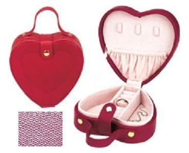 Lizard Heart Print (Elegant Leather 540192-25 Lizard Print Heart Shaped Jewel Box With Handle - Pink)