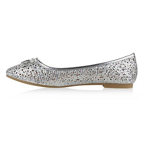 Stiefelparadies Klassische Damen Ballerinas Metallic Slippers Bequeme Flats Glitzer Party Schuhe Abendschuhe Schleifen Flandell Silber Silber
