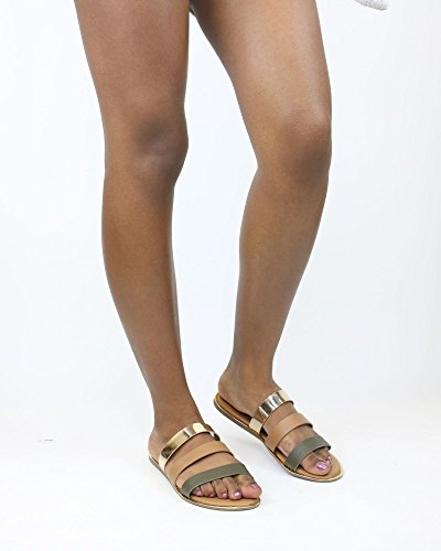 Sandali Di Bambù Da Donna Con 3 Cinturini Oliva