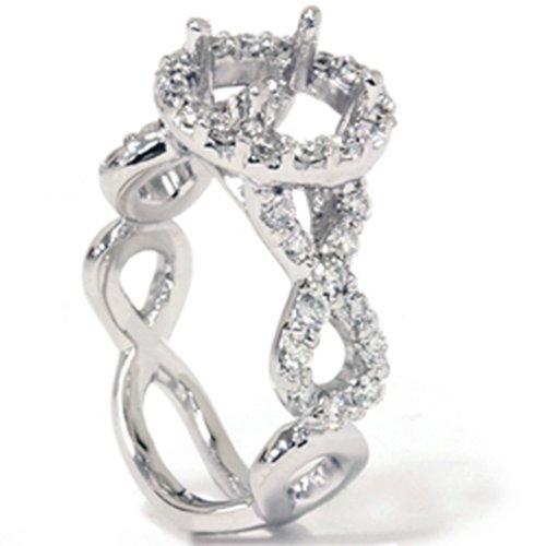 Womens Diamond Semi Mount (3/4ct Fancy Diamond Semi Mount Engagement Ring 14K White)