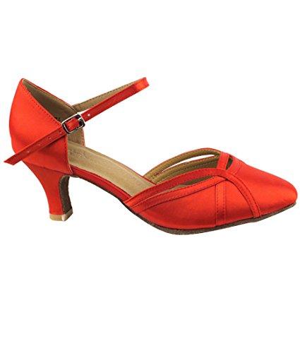Zeer Fijne Ballroom Latin Tango Salsa Dansschoenen Voor Dames Sera3540 2,5 Inch Hak + Opvouwbare Borstel Bundel Rood Satijn