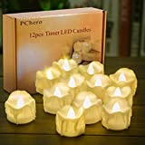 Battery Operated Timer Candles, PChero 12 Packs LED Flameless Votive Tea Lights Candles for Halloween Wedding Party Outdoor Indoor Home Decorations, 6 Hours On and 18 Hours Off Per Cycle - Warm White