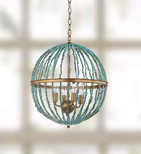 Safavieh CHA4008A Lighting Collection Lalita Cage Blue Chandelier,