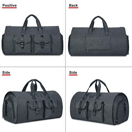 Carry-on Garment Bag Large Duffel Bag Suit Travel Bag Weekend Bag Flight Bag with Shoe Pouch for Men Women (Black)
