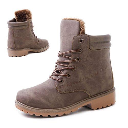 Unisex Damen Herren Worker Boots Schnür Stiefelettten Schuhe in Lederoptik Khaki Toronto