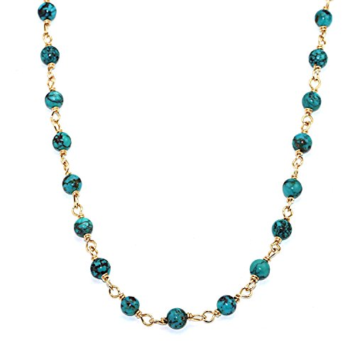 Handmade 14kt Gold-Filled Brass Necklace or Three Strand Bracelet with Turquoise Beads, 22