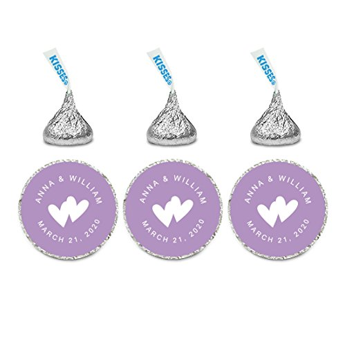 Andaz Press Personalized Wedding Chocolate Drop Labels, Round Bride Groom Names and Date, Lavender, 240-Pack, Custom, For Hershey's Kisses Party Favors
