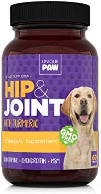 Unique Paw Hip & Joint Supplement for Dogs - Pain Relief and Anti-Inflammatory | Glucosamine Chondroitin for Dogs with Turmeric, Chondroitin, MSM, Hyaluronic Acid | Young and Seniors