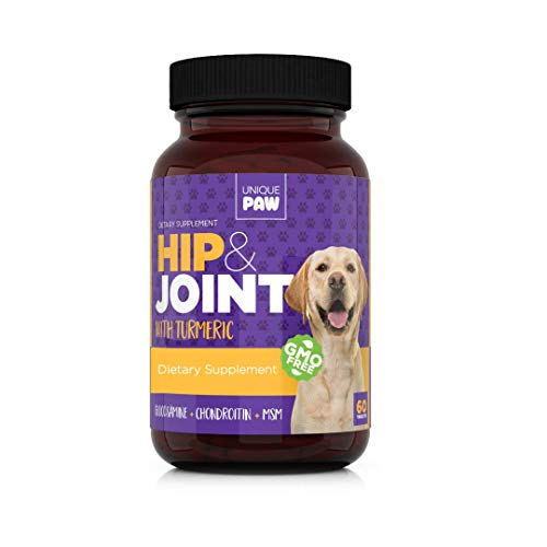 (Unique Paw Hip & Joint Supplement for Dogs - Pain Relief and Anti-Inflammatory   Glucosamine Chondroitin for Dogs with Turmeric, Chondroitin, MSM, Hyaluronic Acid   Young and Seniors)