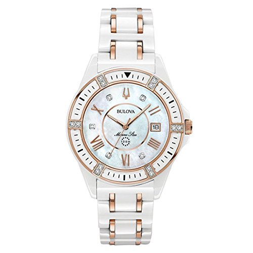 Bulova Women's Marine Star White Ceramic Rose Goldtone Accents Bracelet Watch