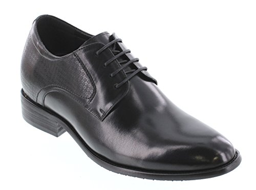 CALTO Y1001-2.8 inches Taller - height Increasing Elevator Shoes - Black Lace-up Dress Shoes
