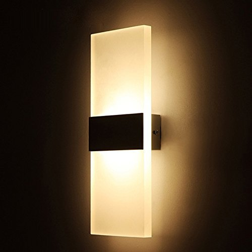 Alotm 8.7x4.3 6W Modern Acrylic LED Wall Sconces Aluminum Lights Fixture Decorative Lamps Night Light for Pathway, Staircase, Bedroom, Balcony, Drive Way, Living Room Warm White (Black)