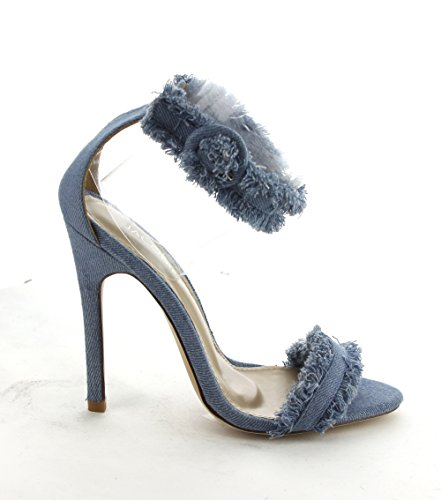 Single Trim Denim Heel Jacobies Sexy Sole Fringe Skinny Women's Ice xqOTw7I