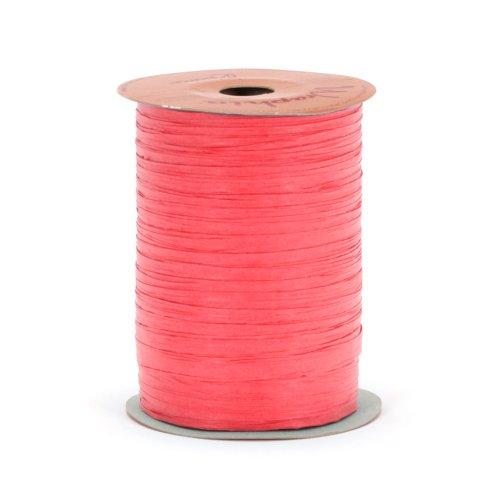 Berwick Offray Matte Raspberry Red Raffia Ribbon, 1/4'' Wide, 100 Yards