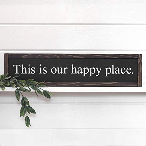 This Is Our Happy Place Sign, Farmhouse Wall Decor, Hand Painted Wood ()