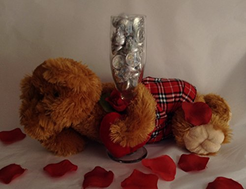 Valentine's Day Teddy Bear With Champagne Flute Glass Filled With Hershey's Chocolate Kisses - Valentine's Day Teddy Bear Gift- Valentine Chocolates