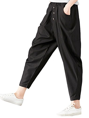Mordenmiss Women's Loose Elastic Waist Pull-on Pants with Side Pockets Black L by Mordenmiss (Image #2)