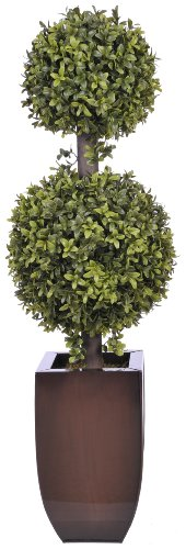 House of Silk Flowers Artificial 2.5-foot Double Ball Topiary in Dark Copper Zinc